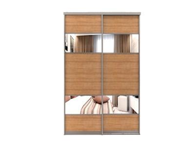 Зеркальные двери-купе для шкафа-купе с вставками ЛДСП Дк 8 - фото 4509